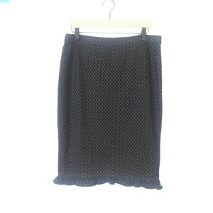 Max Studio polka dot pencil skirt with ruffle hem